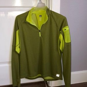 REI Running pullover 1/2 zip thumb holes reflect L